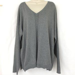 Lane Bryant Gray Metallic Sweater 26 28 V Neck